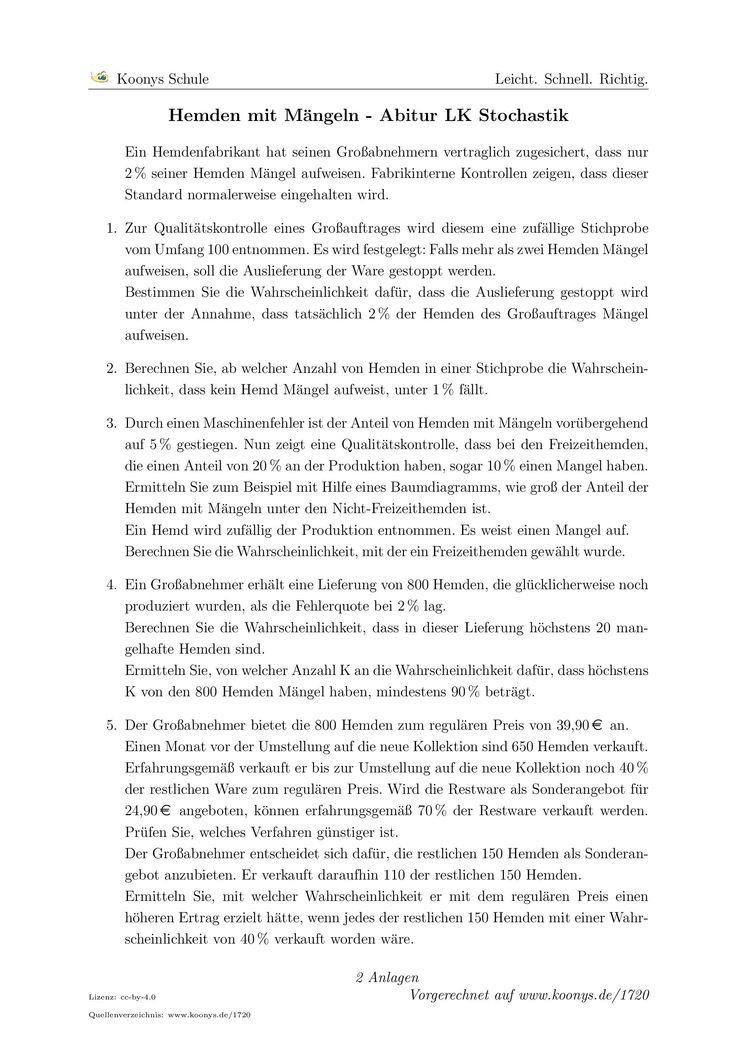 Hemden mit Mängeln - Abitur LK Stochastik. Alle Aufgaben auf www.koonys.de/1720 vorgerechnet!