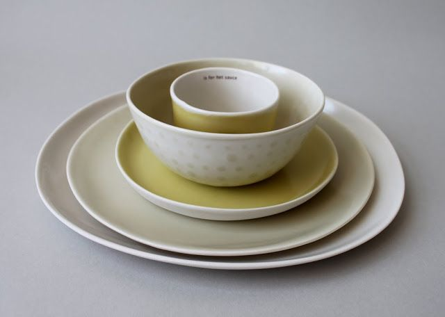 gleena: handmade in Rhode Island porcelain place settings
