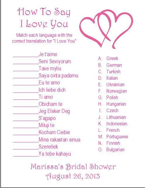 This would be cool because I love languages! | 24 Personalized How to say I LOVE YOU Bridal Shower Game