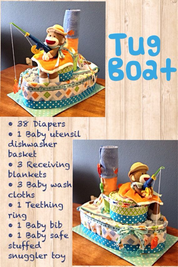 Fisherman tug boat diaper cake by Uponamonkey on Etsy