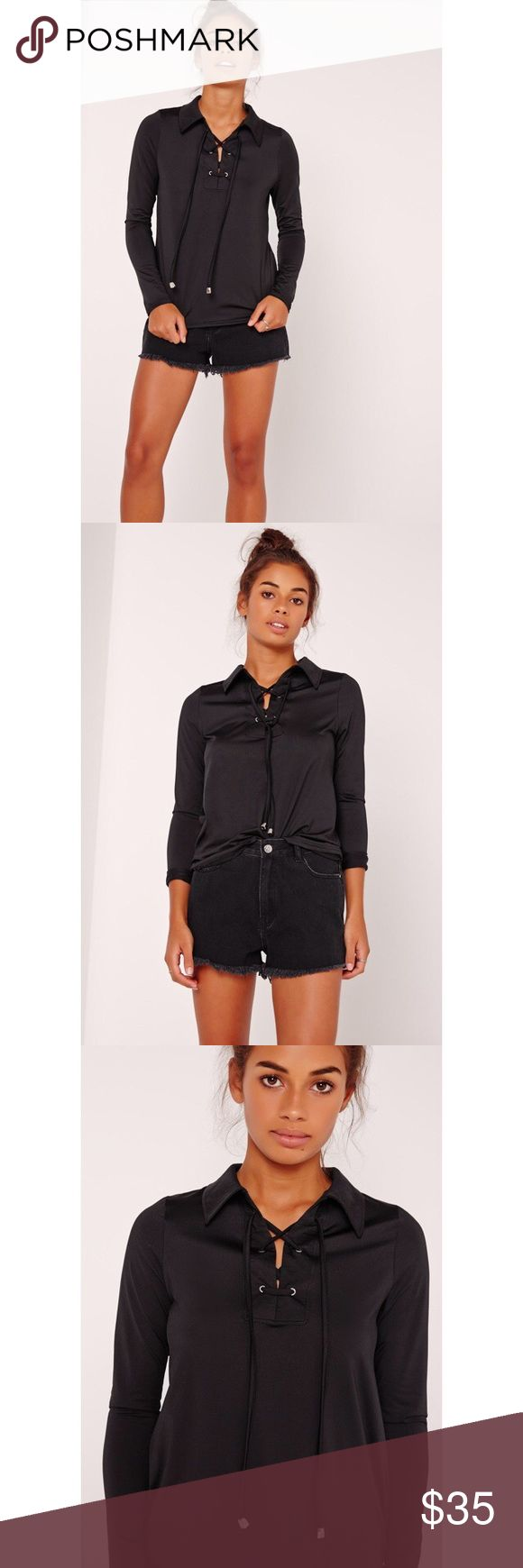 """collar detail sporty lace up top black for casual stylin' or night time ballin', you need this lace up top. in all black with lace up detail to the front, wear with jeans and ankle boots for effortless style.   approx length 56cm/22"""" Missguided Tops Tees - Long Sleeve"""