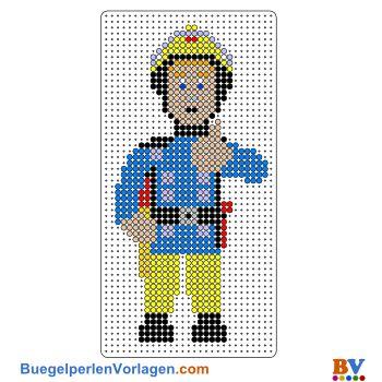 Feuerwehrmann Sam Bügelperlen Vorlage. Auf buegelperlenvorlagen.com kannst du eine große Auswahl an Bügelperlen Vorlagen in PDF Format kostenlos herunterladen und ausdrucken.
