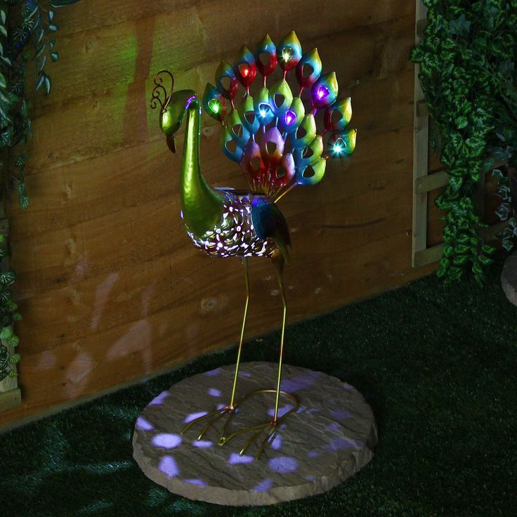 Large solar powered 8 led peacock figure novelty outdoor for Outdoor light up ornaments