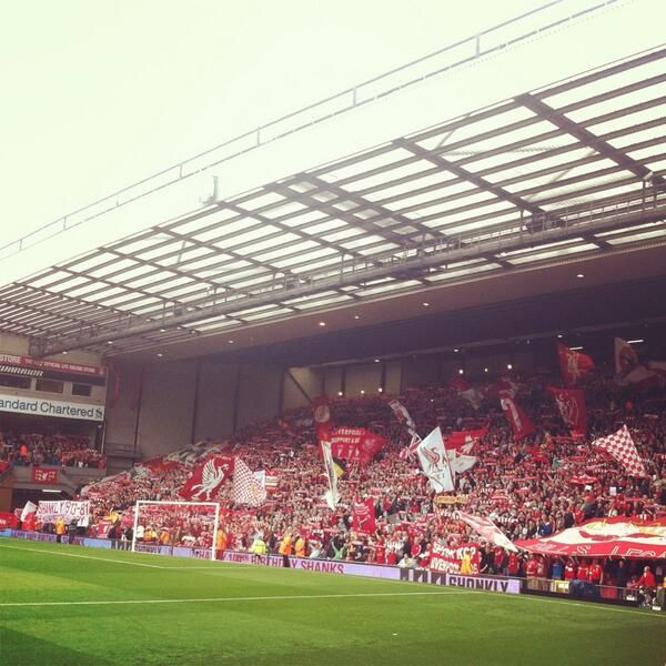 The Kop in full song before the Premier League match with Manchester United #LFC