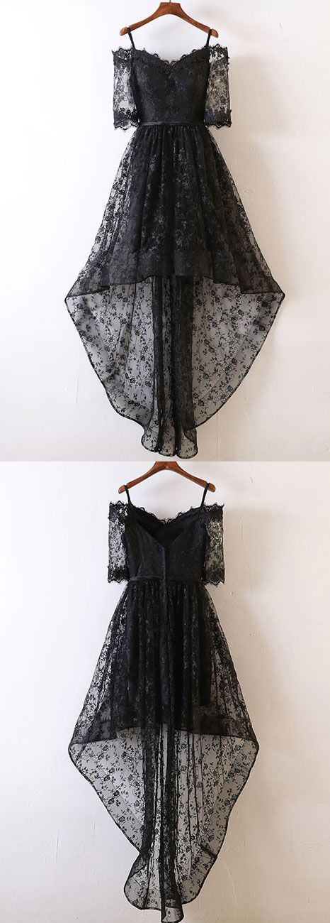 black lace high low prom dress, black lace evening dress