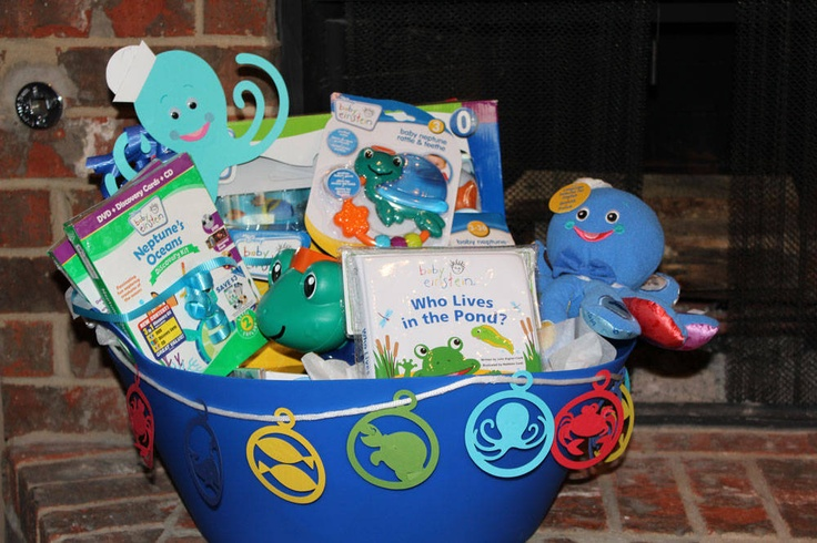 Baby shower gift basket. I want this gift baby Einstein Neptune oceans gift big basket for Christmas next month