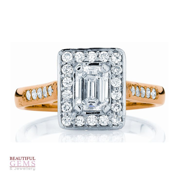 Emerald Cut Engagement Ring With Carat Tdw Of Diamonds In White Yellow Gold 184953022 Beautiful Gems Jewellery