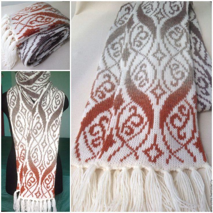 Купить Жаккардовый шарф - комбинированный, шарф, жаккард, орнамент, шерсть, полушерсть, полушерсть, шерсть