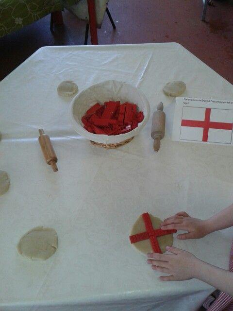England flag play doh with red lego bricks.