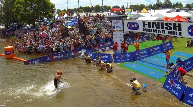 Troy Prinsloo and Chad Ho in one of the closest finishes at The aQuellé Midmar Mile, in Kwazulu Natal, South Africa. Feb 2014