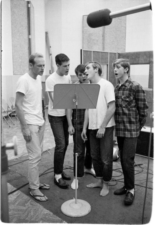 Those five part harmonies!! - The Beach Boys in Capitol Records recording studio - Vine Street, Hollywood, Cali 1962 L-R - Mike Love, Brian Wilson, Carl Wilson, Dennis Wilson, David Marks