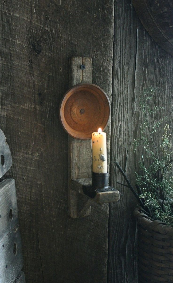 Primitive Early Lighting Inspired Tobacco Lath Reflector Candle Sconce w Stub | eBay