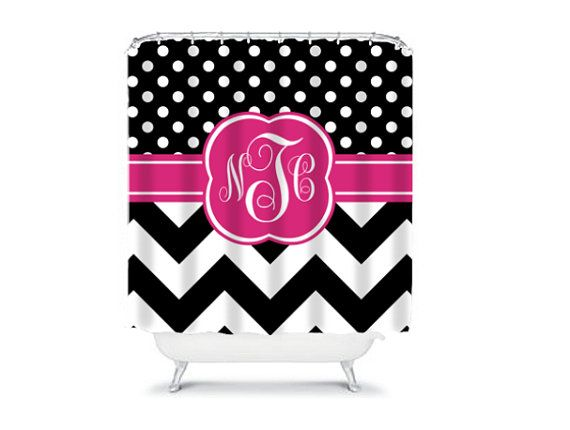 Personalized Shower Curtain  Monogram Shower Curtain by LoveyDoveyCreations