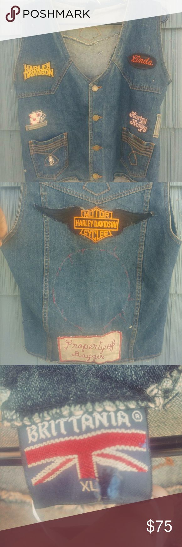 Vintage 70s denim biker vest with patches Vintage 70s badass biker vest with original patches, size xl great condition would fit a modern large .... The patches alone are worth a lot especially the harley davidson patch. Own a piece of biker history ! This is an original vintage piece not a replica. Vest is in great condition britannia Tops