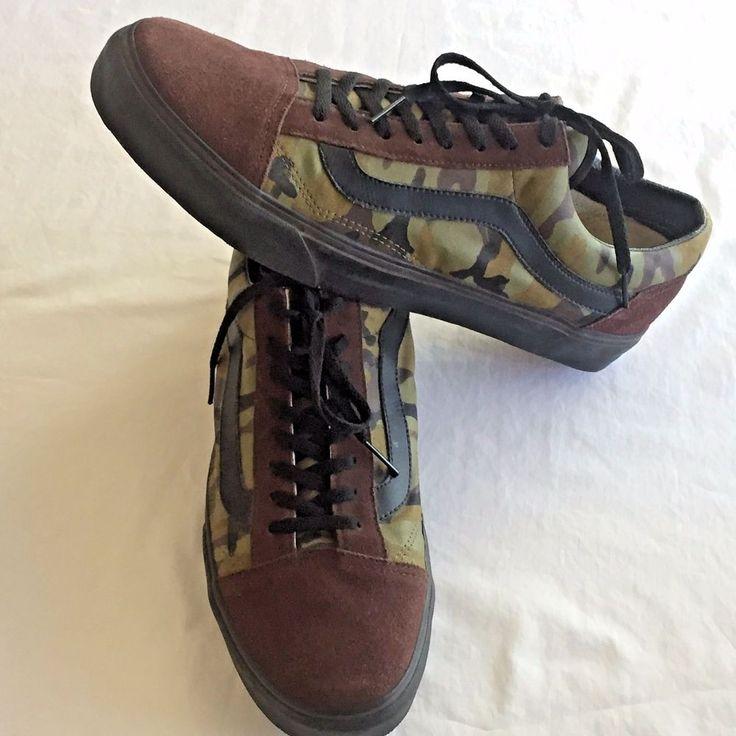 Size 15 Mens Shoes Vans Custom Design Camo Brown Suede Black Trim Skater No Wear #VANS #Skateboarding