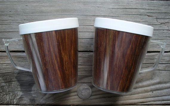Vintage Pair of Insulated Coffee Mugs  Faux by TheOddOldTriednTrue