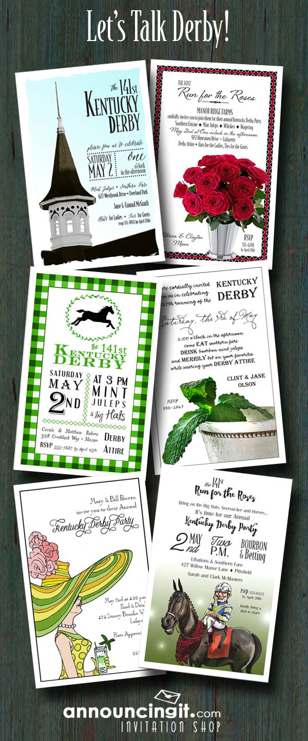 Kentucky Derby Party Invitations - lots of unique designs to choose from at Announcingit.com - come see our entire collection of Derby Invitations