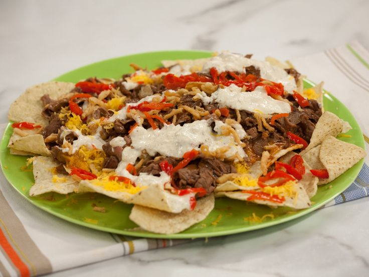 BBQ Roast Beef Nachos recipe from Jeff Mauro via Food Network