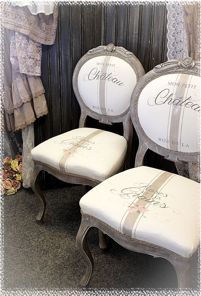 ❤️ French chairs with stenciled script & roses on seats. From https://m.facebook.com/sweahantverk