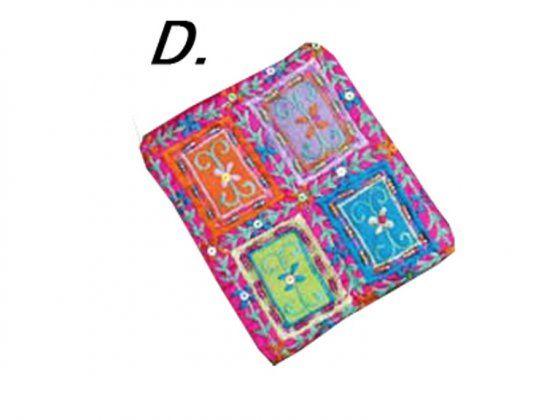 Gyöngyös himzett pénz- és irattartó (D) - pink
