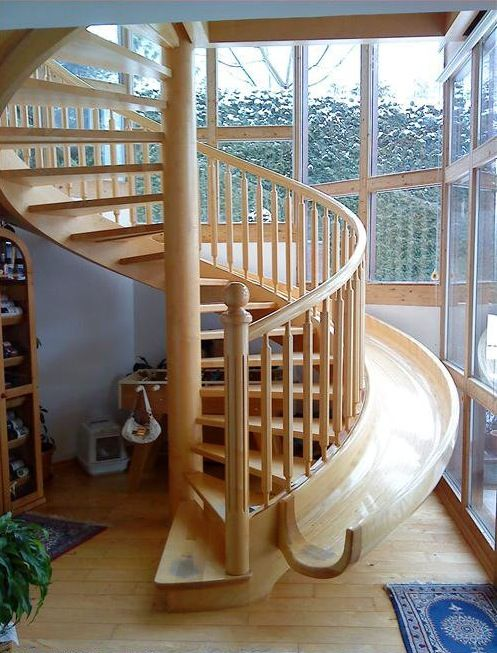should we take the stairs or the the slide? ok this is awesome! i like this one better than the other one i have seen with the stairs and slide inside the house.