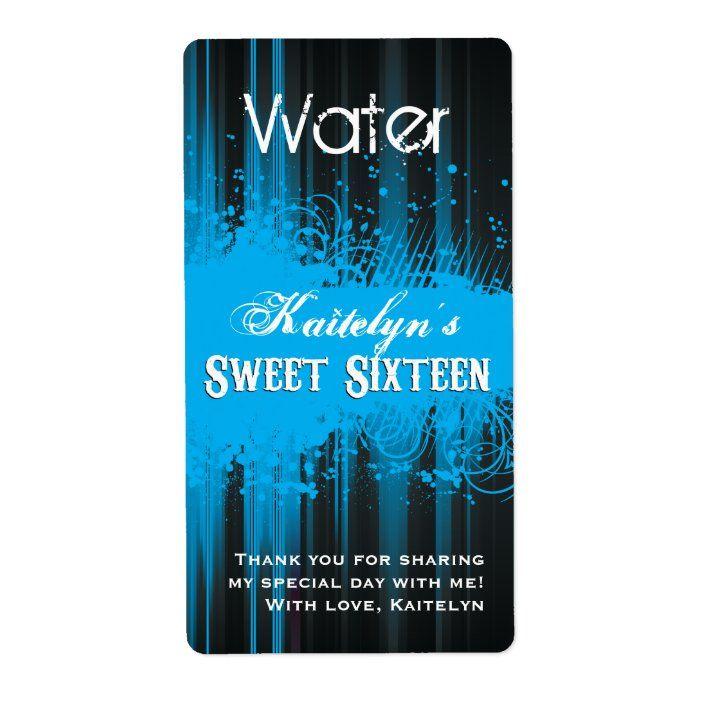 Club Flyer Look Sweet 16 Water Label Zazzle Com Bottle Label Template Water Bottle Labels Template Labels