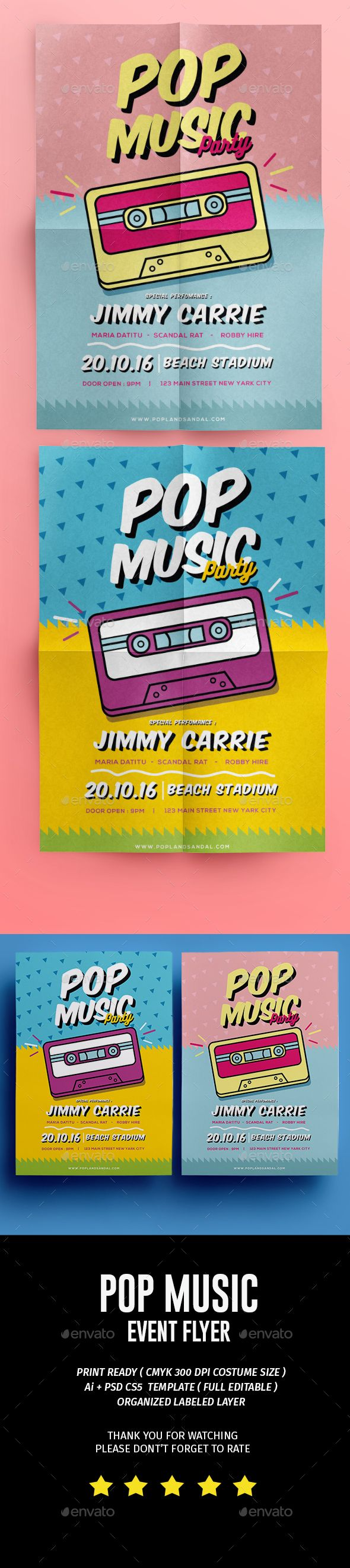 Pop Music Flyer Template PSD, AI Illustrator. Download here: https://graphicriver.net/item/pop-music-flyer/17494833?ref=ksioks