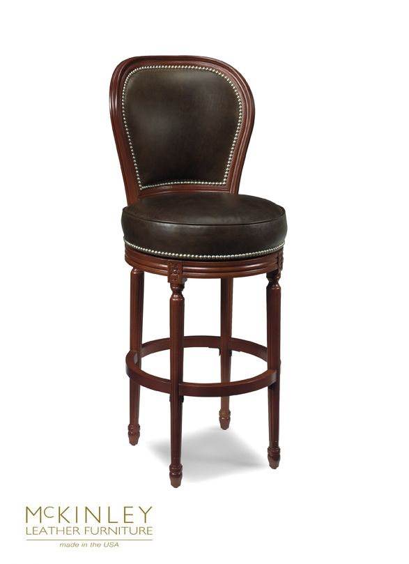 Cameo Swivel Bar Stool Has Traditional Stylings With Nailhead Trim
