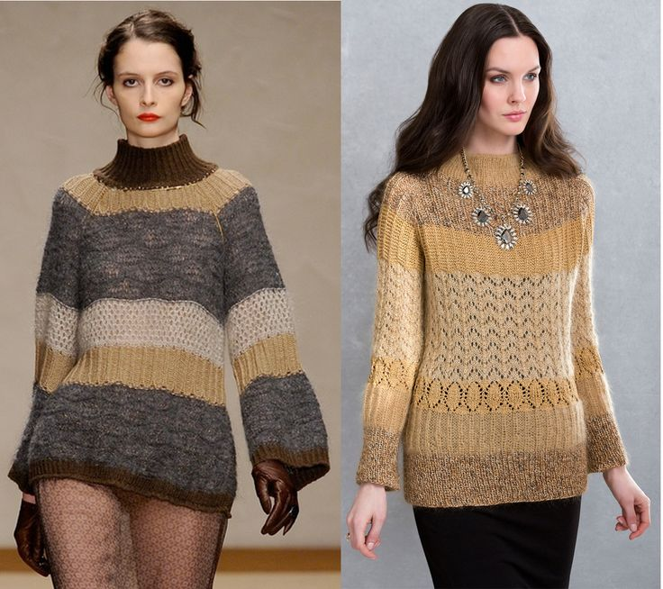 Utilizing several different yarns, the Kitty Top-Down Tunic in LUNA, STELLA, CELINE, & RITRATTO (right) is directly influenced by the multi-textural tunic from Kristina Ti (left). Several stitch patterns boost the texture for a slimming, curve-hugging tunic. www.kristinati.it/