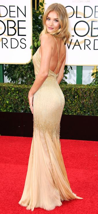 Golden Globes 2016: Better From the Back | People - Rosie Huntington-Whiteley's backless gold Atelier Versace dress