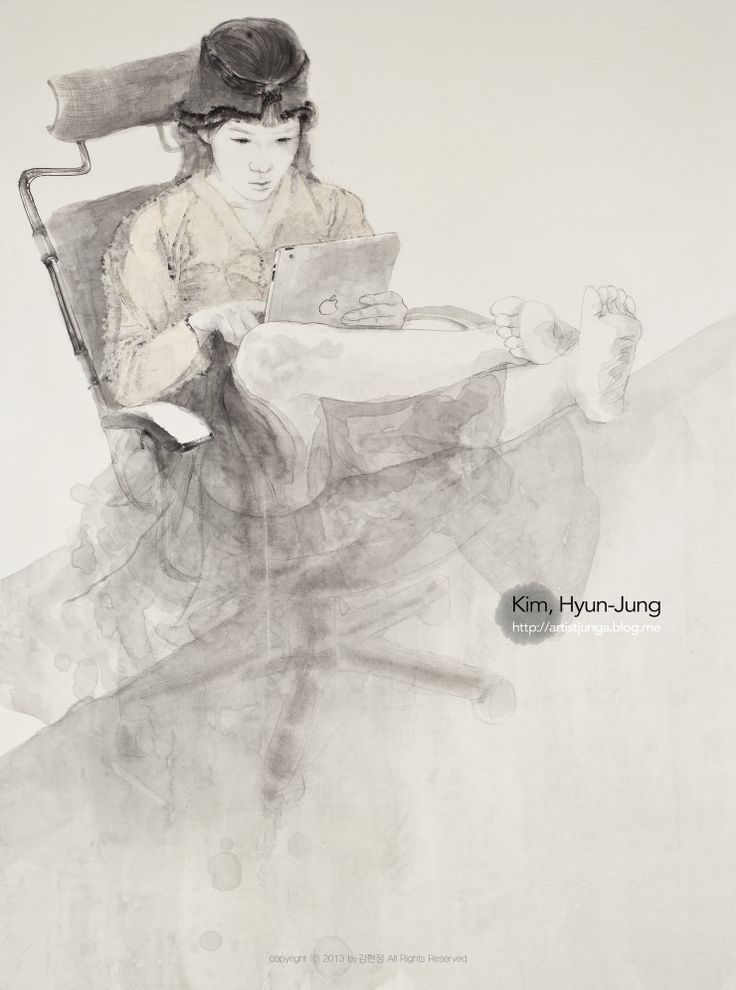 Feign : Immersion, Painting with Korea traditional ink on Traditional Asisan paper 160x119cm, 2011