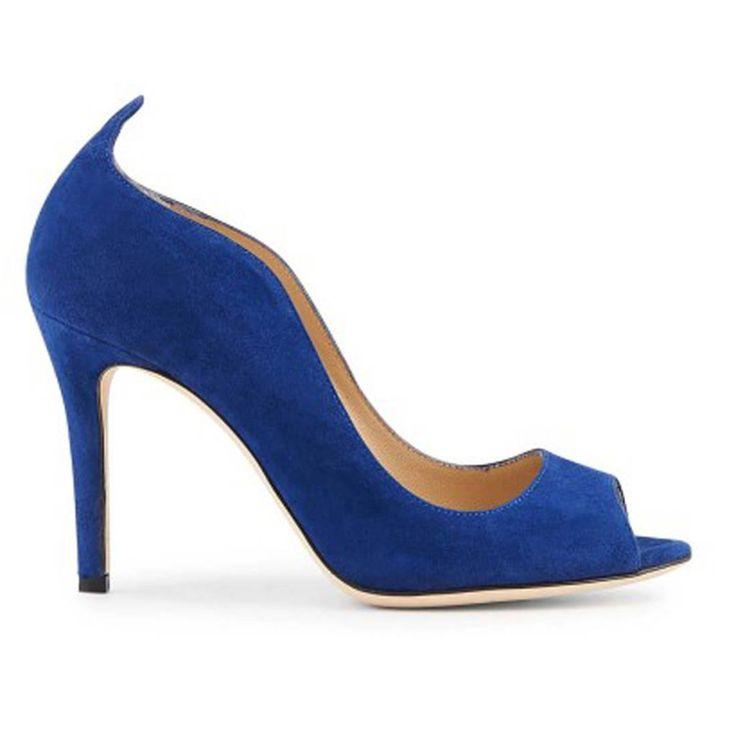 Escarpins bleus Minelli open toes et decoupe
