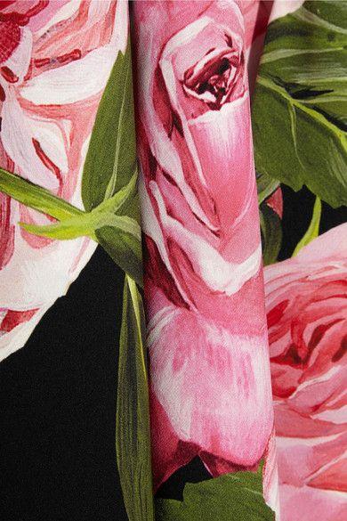 Dolce & Gabbana - One-shoulder Floral-print Silk-charmeuse Gown - Black
