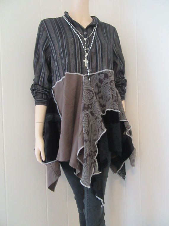 Boho Tunic Womens Victorian Peasant Rustic by bluemermaiddesigns