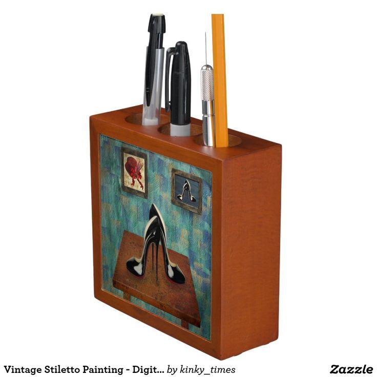 Vintage Stiletto Painting - Digital Art Desk Organizer