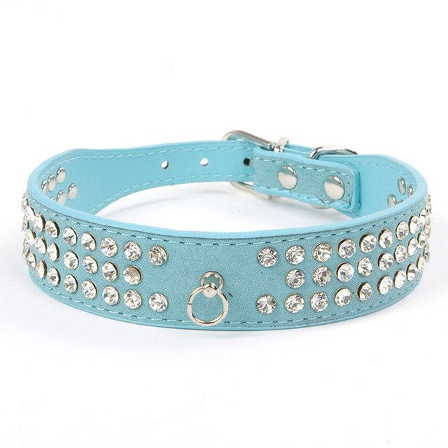 Check Out My Bling!! - Small Dog Collars - 3 rows of Rhinestones - 5 Colors / S-L sizes