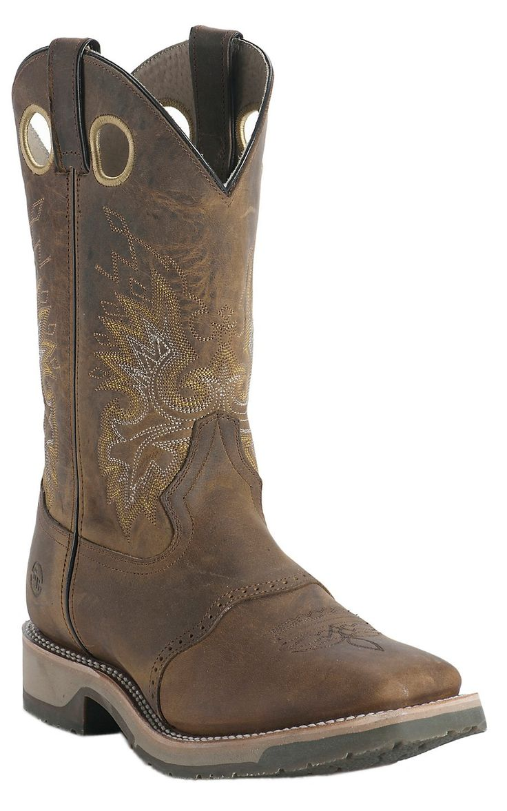 Double H® Ice Collection™ Men's Old Folklore Brown Saddle Vamp Square Steel Toe Work Boot | Cavender's