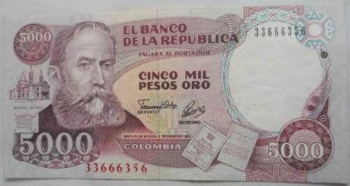 Billete De 5000 Pesos A�o 1993 (Colombia) a COP 18000  en  PrecioLandia Colombia (6q5dxq)