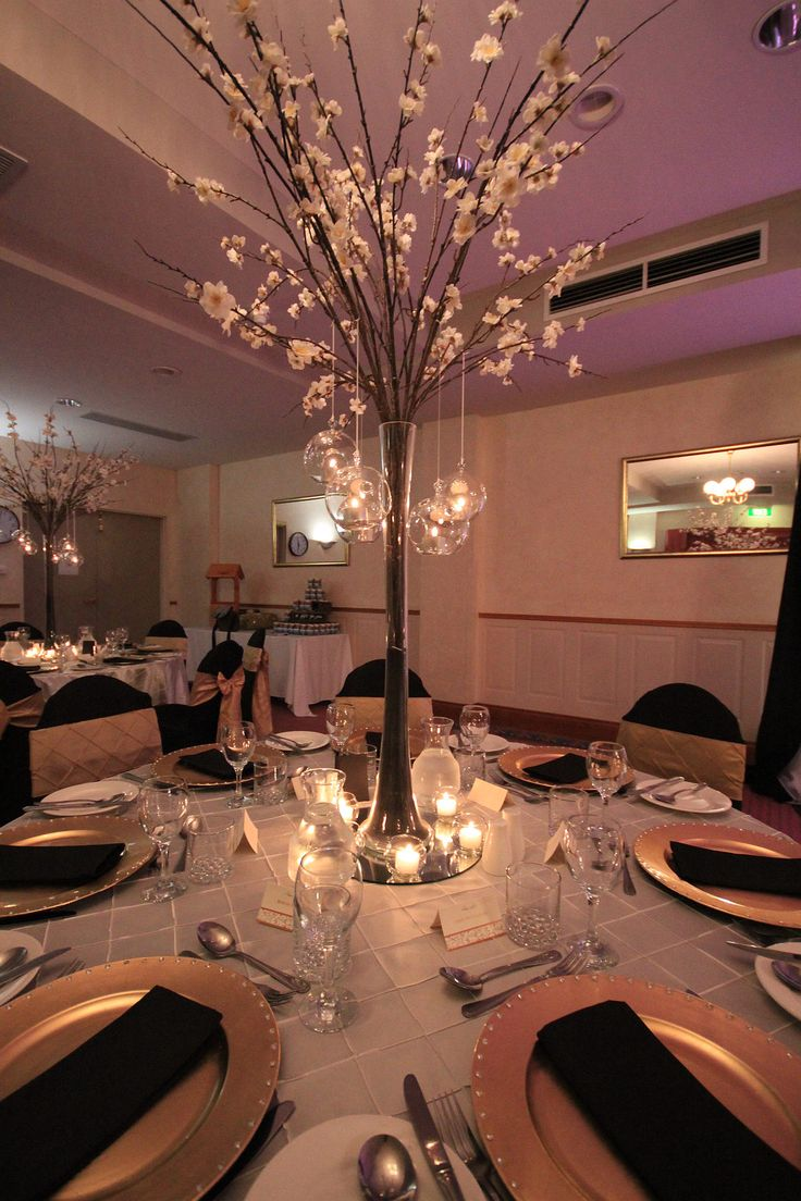 Cherry Branch Centerpiece Tall Hanging Candles Wedding Event Avenue Hobart decorator