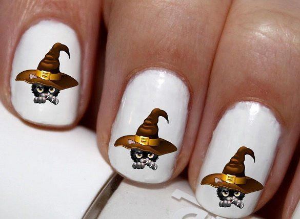 style clothes online 20 pc Halloween Kitty In Witch Hat Black Cat Happy Halloween Nail Art Nail