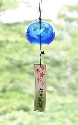 篠原風鈴本舗 江戸風鈴 切子風鈴 鶴 Edo Furin, Edo glass wind chime Yutaka Shinohara ; holder of Edogawa intangible cultural heritage