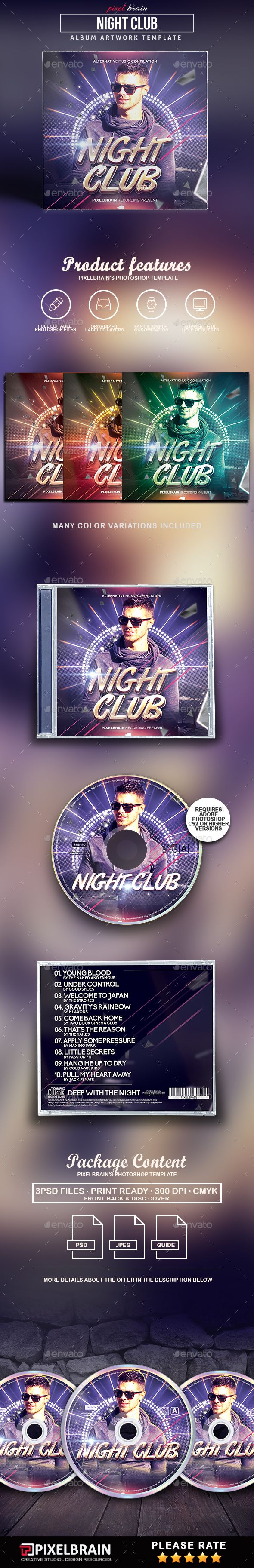 Night Club CD Cover Artwork - #CD & DVD #Artwork Print #Templates Download here: https://graphicriver.net/item/night-club-cd-cover-artwork/19540691?ref=alena994