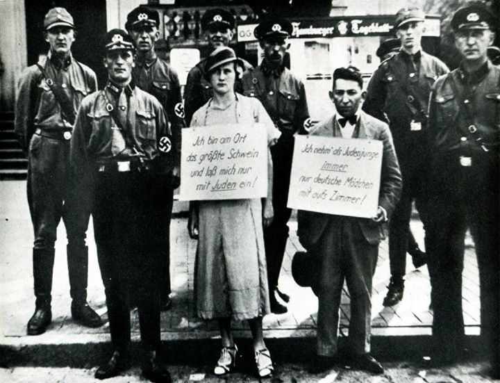 "#Two Germans accused of having violated the law against sexual relations between Jews and Gentiles - Hamburg The woman's sign: ""At this place I am the greatest swine for I laid with a Jew"" The man's: As a Jewish youth I always take only German girls to my room""  Germany July 27 1933 [1200x919] via /r/#HistoryPorn #history #retro # http://ift.tt/21Haj9f"