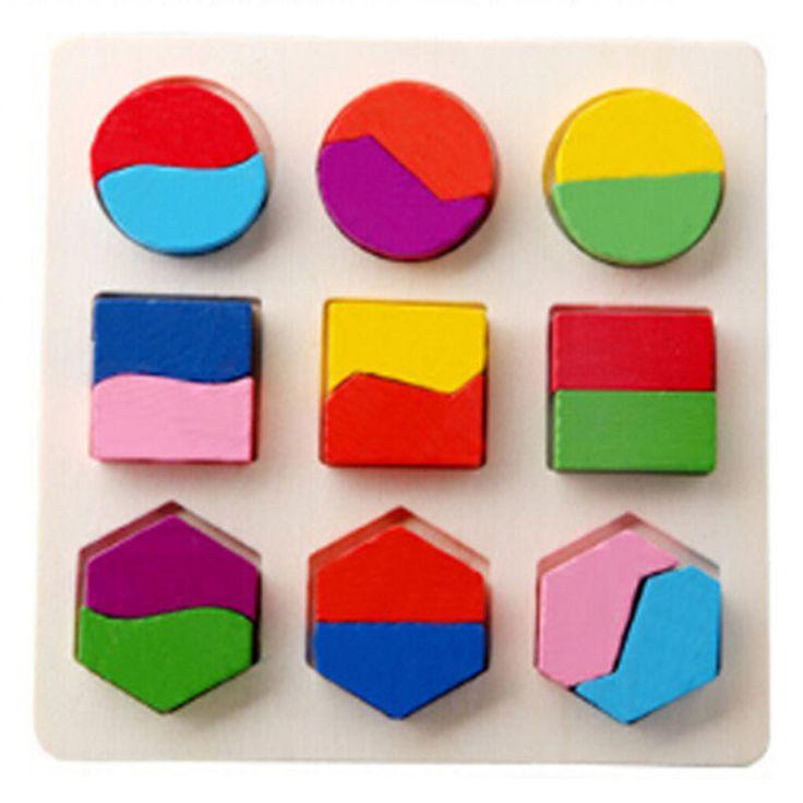 De Madera geometría bloque Rompecabezas bisección de aprendizaje temprano Niño Bebé Juguete Educativo