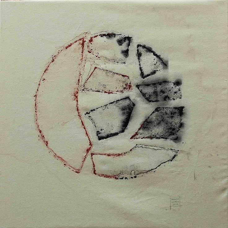 Ice Painting di Marco Nones - ICE ON CANVAS, ghiaccio su tela - Opera iniziata dall'artista e terminata dalla natura, collezione 2012