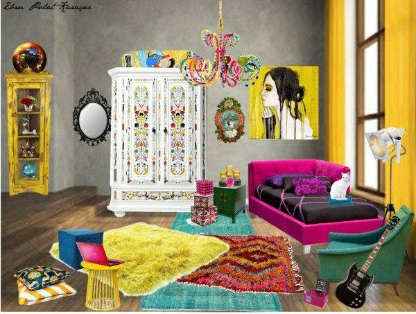 New jugendzimmer gestalten moderne art teppiche bunt bett wanddeko kronleuchter schrank