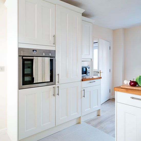 White Shaker-style kitchen with built-in cabinetry