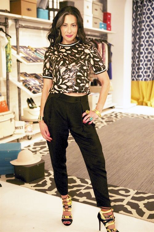 Stacy London wearing Kurt Geiger Ghecko Green High Heels, Alexis Bittar Miss Havisham Encrusted Crisscross Cuff, - help with the outfit itself would be fantastic!