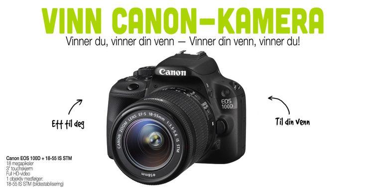 Denne linken er en unik invitasjon fra din venn. Bli med i Nfoto.no, Norges raskeste fototjeneste, sin kamera-konkurranse med denne din venns link, og dere kan vinne dette kvalitetskameraet fra Canon, sammen!