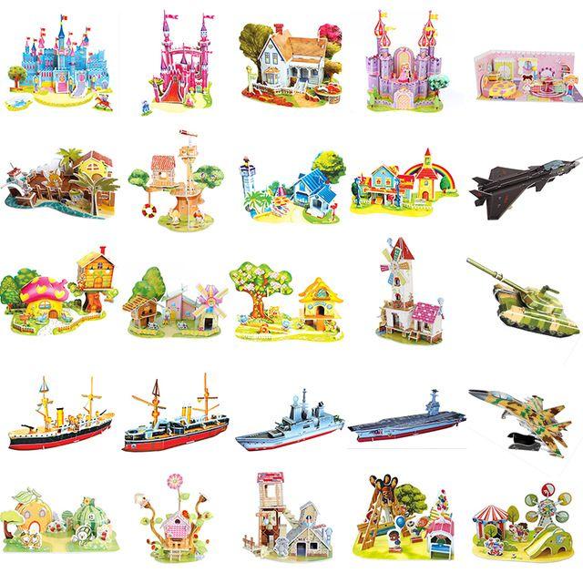 3D Zilipoo DIY puzzle skládačky dětské hračky Kid Early learning Castle Stavební vzor dárek pro děti Brinquedo 29 vzorů
